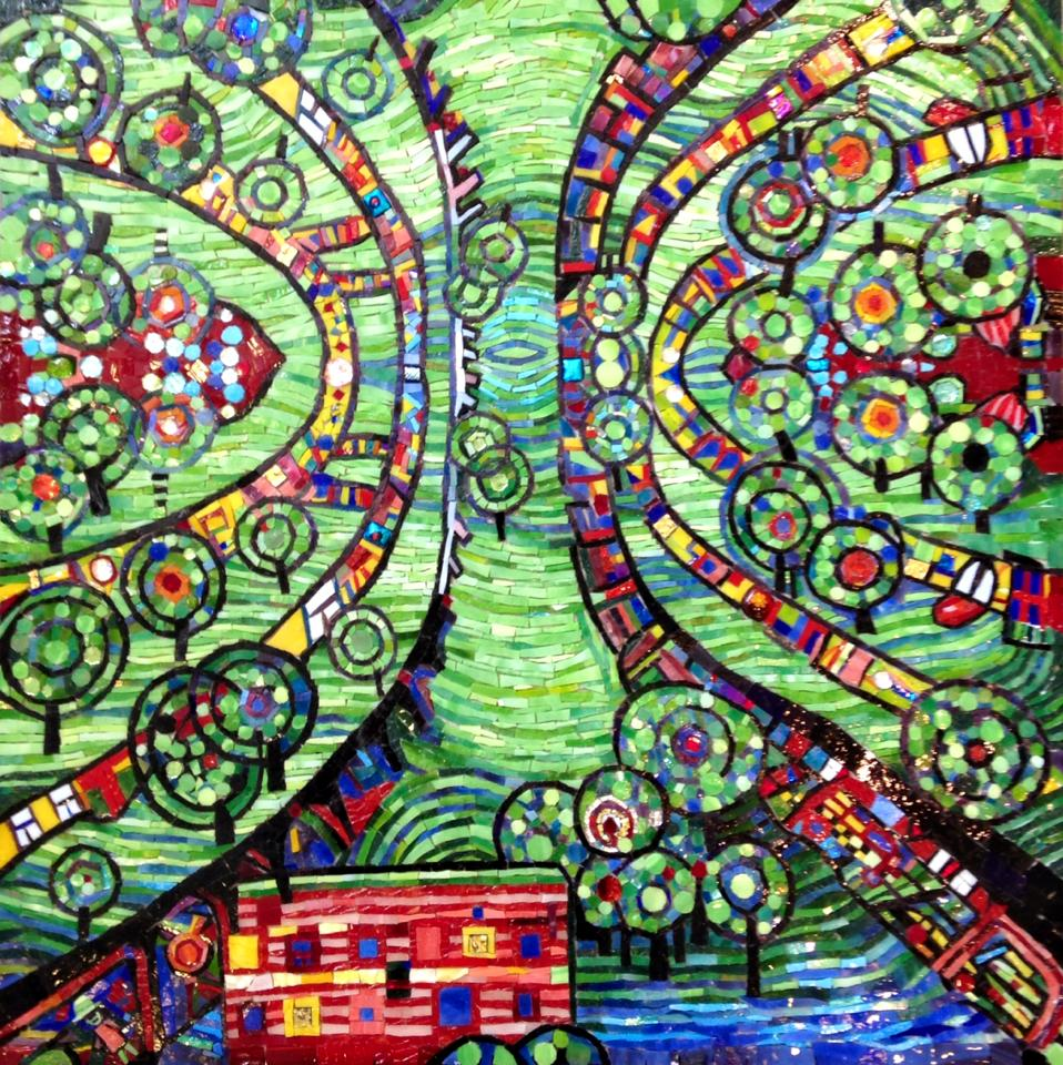 """GREEN TOWN FROM HUNDERTWASSER"" by Larissa Strauss, Glass mosaic, 24"" x 24,"" 2014, Commissioned."