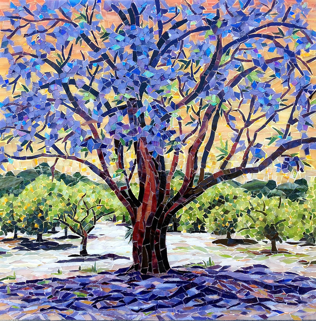 """JACARANDA"" by Larissa Strauss, Glass mosaic, 17' x 17,"" 2013, Sold."
