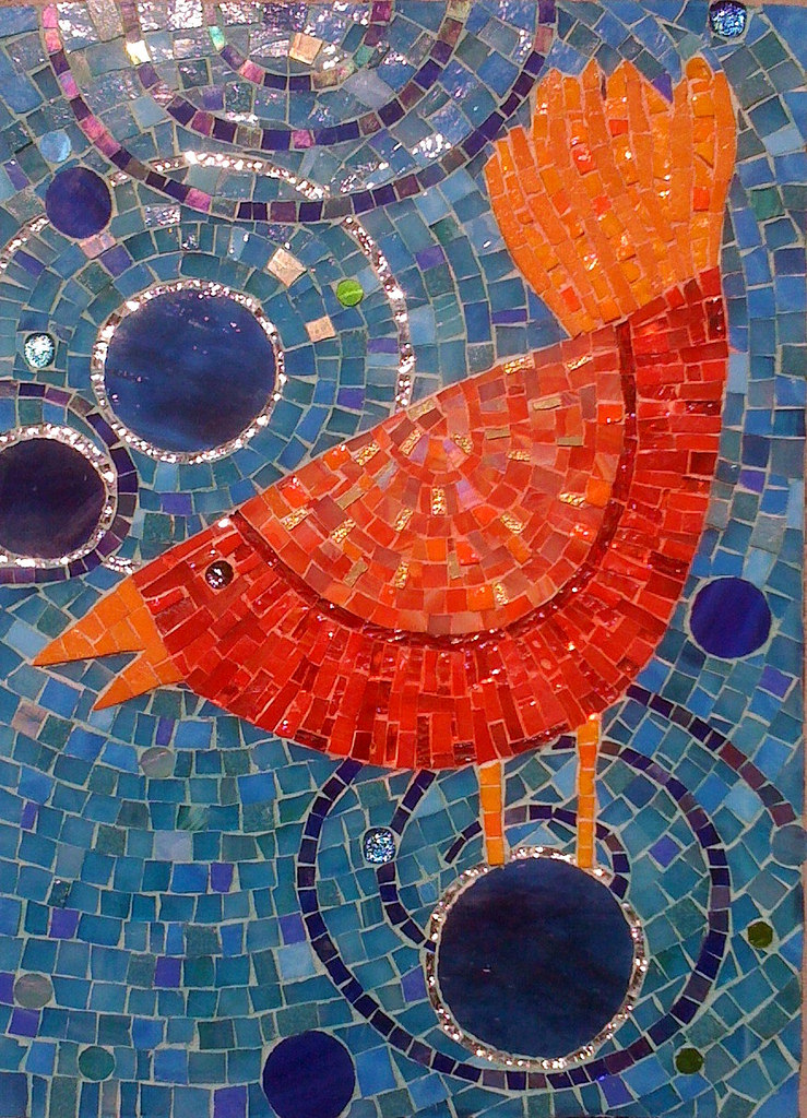 """JOE'S WHIMSICAL CHICKEN"" by Larissa Strauss, Glass mosaic, 22"" x 16,"" 2011, Commissioned."