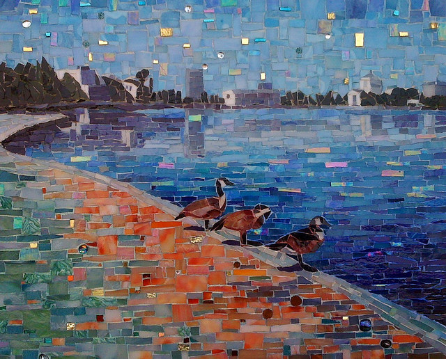 """SITTING LAKESIDE"" by Larissa Strauss, Glass mosaic, 14"" x 18,"" 2011, Commissioned."