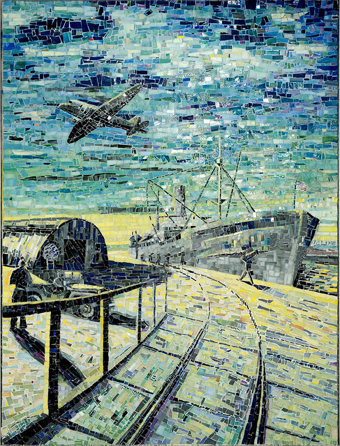"""""""WWII AT PORT HUENEME"""" by Larissa Strauss. Glass mosaic, 48"""" x 36"""", 2009. Commissioned by the Museum of Ventura County."""