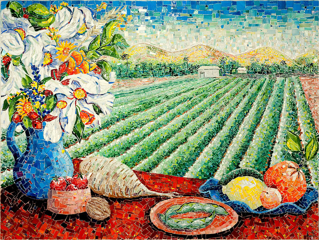 """""""AGRICULTURE IN VENTURA COUNTY"""" by Larissa Strauss. Glass mosaic, 36"""" x 48"""", 2009. Commissioned by the Museum of Ventura County."""
