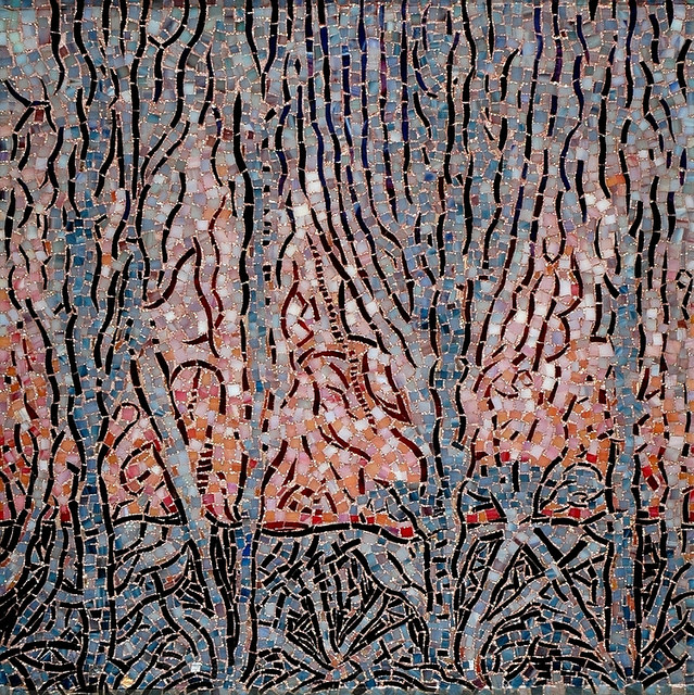 """""""ARCADIA"""" by Larissa Strauss. Glass mosaic, 24″ x 24,"""" 2006, Available."""