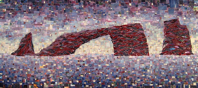 """ARCH ROCK"" by Larissa Strauss. Glass mosaic, 18″ x 40,"" 2008, Commission."