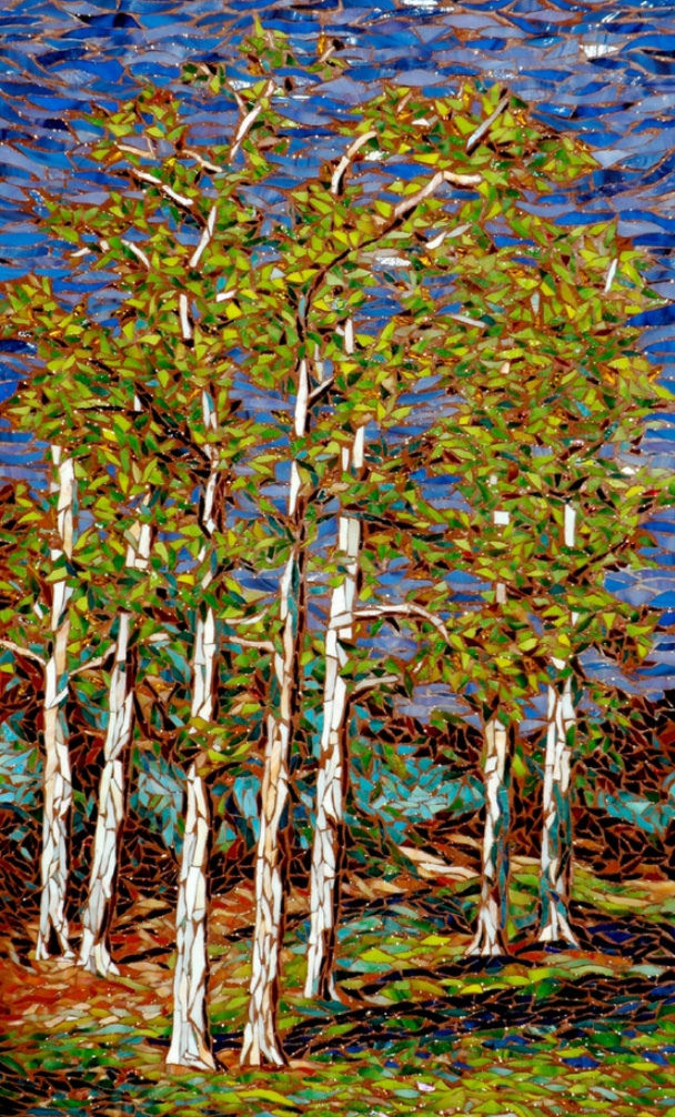 """ARROYO VERDE"" by Larissa Strauss. Glass mosaic, 24"" x 16,"" 2006, Sold."