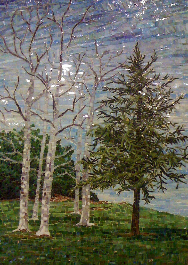 """ARROYO VERDE TREES, WINTER"" by Larissa Strauss, Glass mosaic, 28"" x 20,"" 2011, Commissioned."