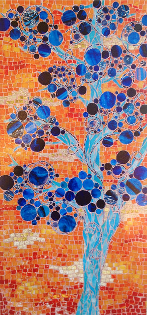 """BLUE CIRCLE TREE"" by Larissa Strauss. Glass mosaic, 36″ x 15,"" 2006, Sold."