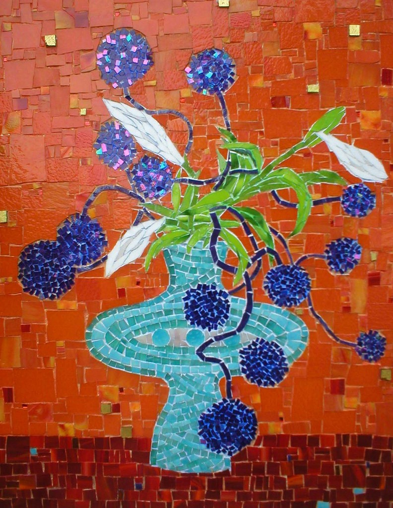 """BLUE IKEBANA"" by Larissa Strauss. Glass mosaic, 24″ x 18,"" 2007, Sold."