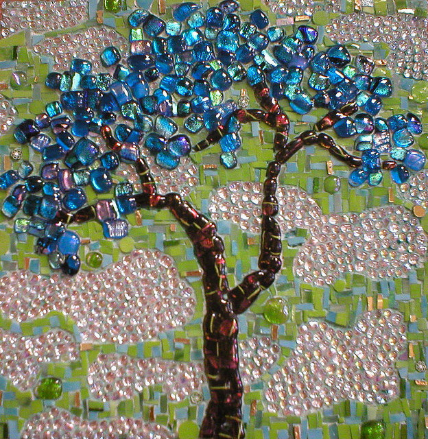 """BLUE JEWEL TREE"" by Larissa Strauss. Fused and stained glass mosaic, 12"" x 12,"" 2007, Sold."