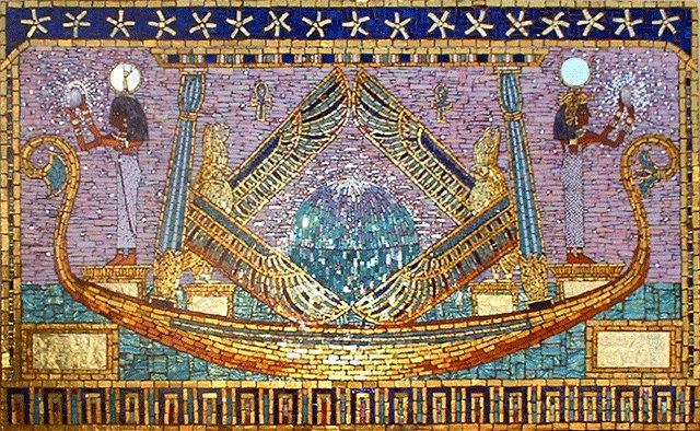 """BRINGING THE LIGHT"" by Larissa Strauss. Glass mosaic, 24″ x 36,"" 2002, Commission."