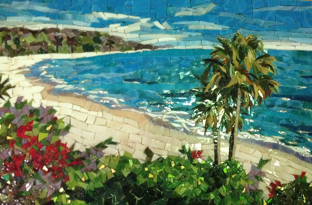 """CALIFORNIA COASTLINE"" by Larissa Strauss, Glass mosaic, 10"" x 16,"" 2012, Commissioned."