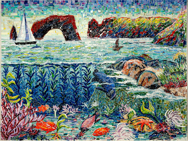 """""""CHANNEL ISLANDS NATIONAL PARK"""" by Larissa Strauss. Glass mosaic, 36"""" x 48"""", 2009. Commissioned by the Museum of Ventura County."""