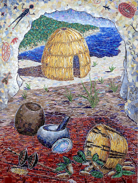 """""""CHUMASH"""" by Larissa Strauss. Glass mosaic, 48"""" x 36,"""" 2009, commissioned by the Museum of Ventura County."""