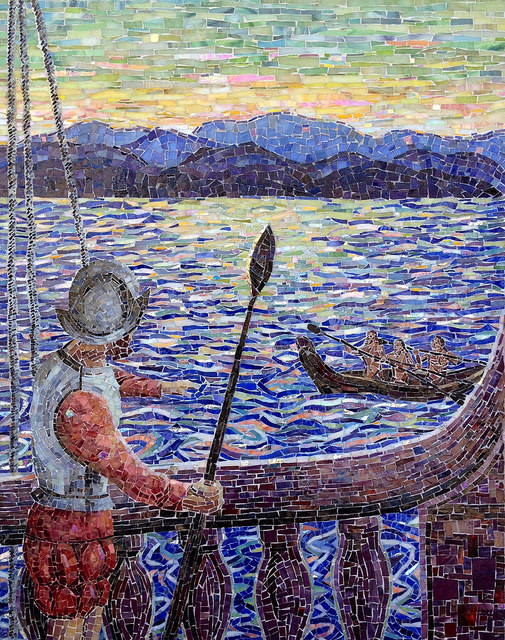 """""""CONQUISTADOR MEETS CHUMASH"""" by Larissa Strauss. Glass mosaic, 36"""" x 28,"""" 2009, commissioned by the Museum of Ventura County."""