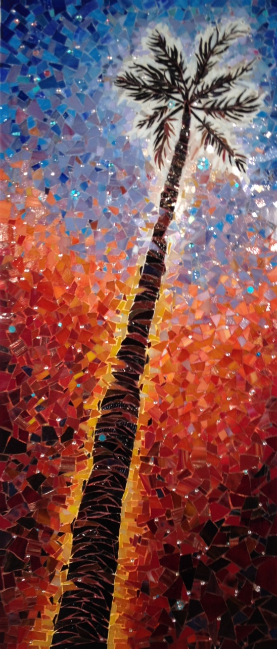 """EXUBERANT TRANSCENDENCE"" by Larissa Strauss, Glass mosaic, 36"" x 15,"" 2012, Available."
