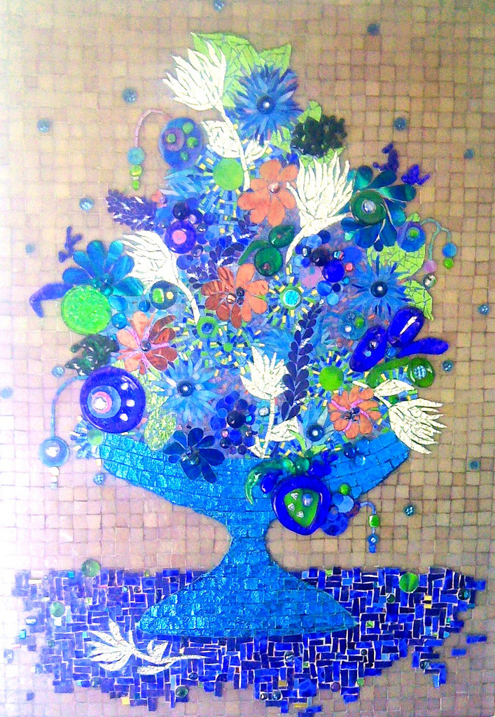 """FLOWER BOWL"" by Larissa Strauss. Fused and stained glass mosaic, 48"" x 36,"" 2008."