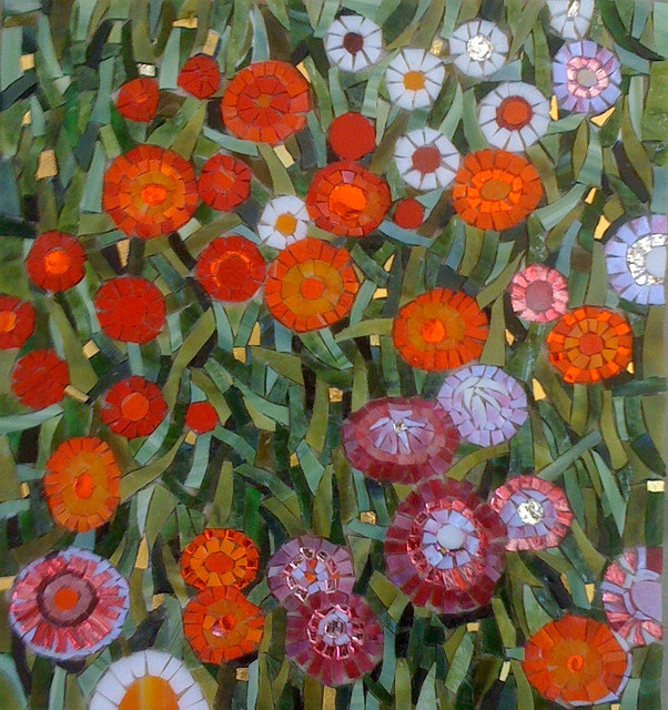 """GARDEN FLOWERS, FROM KLIMT"" by Larissa Strauss, Glass mosaic, 13"" x 13,"" 2011, Sold."