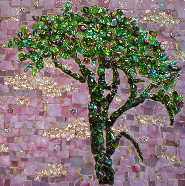 """GREEN JEWEL TREE"" by Larissa Strauss. Fused and stained glass mosaic, 12"" x 12,"" 2007, Sold."