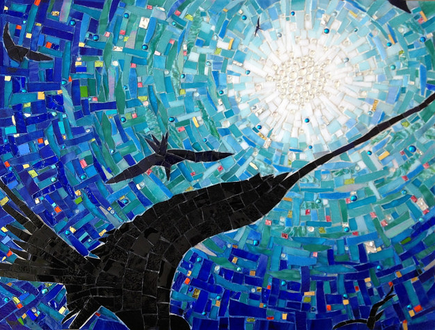 """HALLOWED BY STARS"" by Larissa Strauss, Glass mosaic, 12"" x 16,"" 2013, Sold."