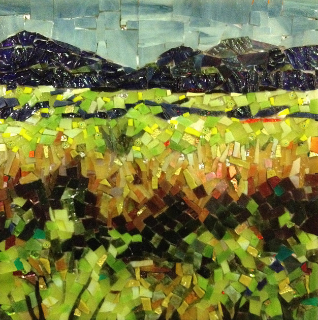 """HILLS FROM THE BIKE PATH IN CASITAS SPRINGS"" by Larissa Strauss. Glass mosaic, 11"" x 11,"" 2012."