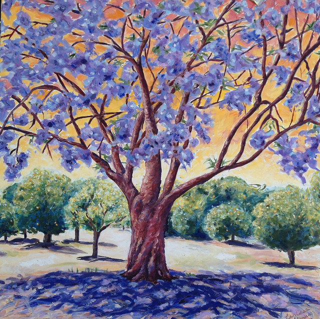 """JACARANDA PAINTING"" by Larissa Strauss. Oil on canvas, 36"" x 36,"" 2013, Commissioned."