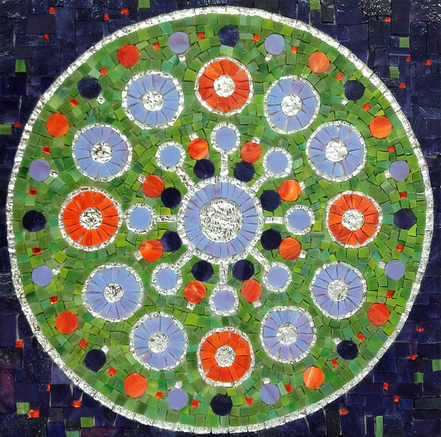 """MANDALA"" by Larissa Strauss, Glass mosaic, 13"" x 13,"" 2012, Sold."