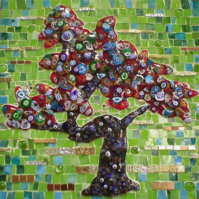 """MILLEFIORE TREE"" by Larissa Strauss. Fused and stained glass mosaic, 12″ x 12,"" 2007, Sold."