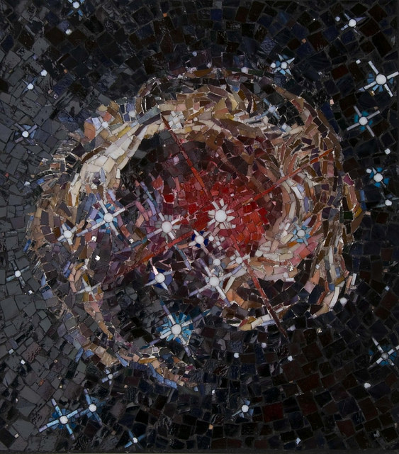 """MONOCEROTIS LIGHT ECHO"" by Larissa Strauss. Glass mosaic, 16″ x 12,"" 2009, Sold."