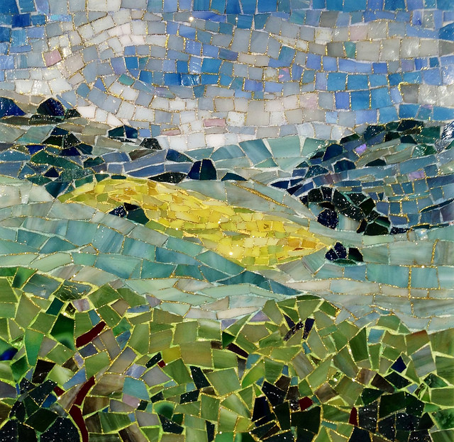 """ON THE WAY TO WINE COUNTRY"" by Larissa Strauss, Glass mosaic, 11"" x 11,"" 2012, Sold."