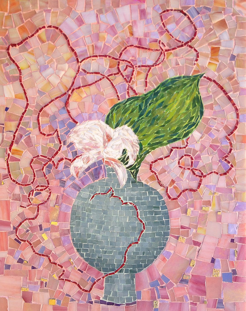 """ORCHID AND MEANDERING WILLOW IKEBANA"" by Larissa Strauss. Glass mosaic, 20"" x 14,"" 2007, Available."