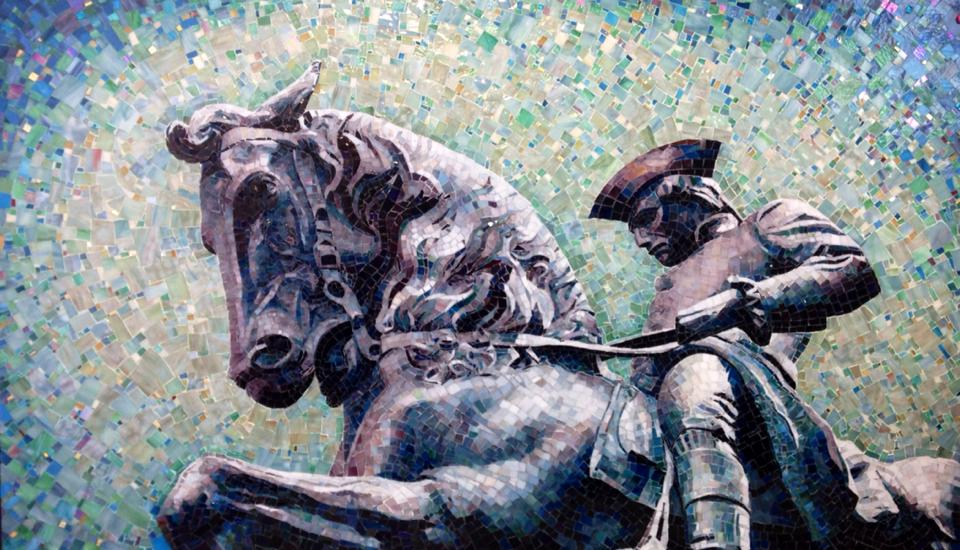 """PAUL REVERE"" by Larissa Strauss, Glass mosaic, 3′ x 5,' 2014, Commissioned."