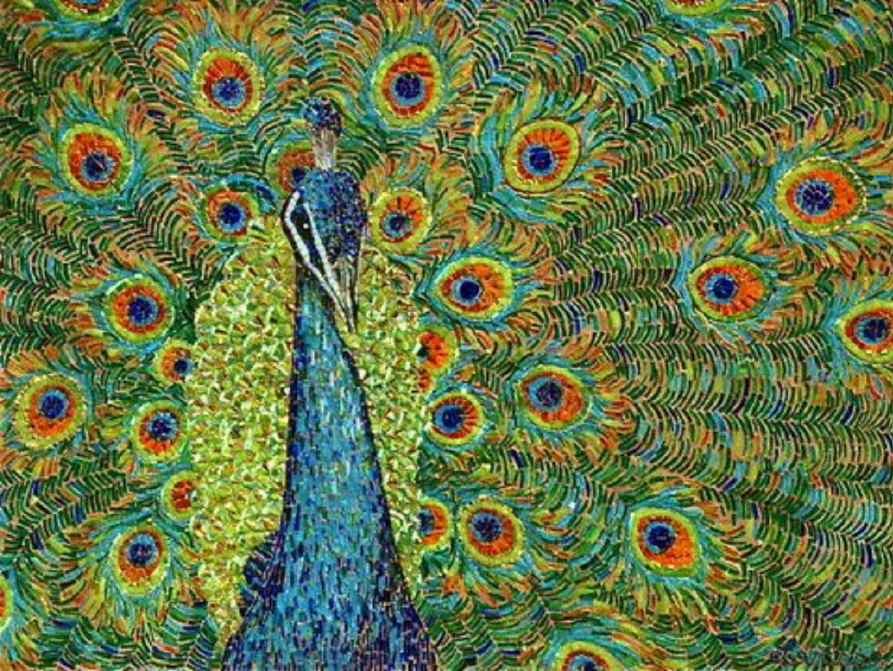 """PEACOCK"" by Larissa Strauss. Glass mosaic, 3′ x 4,' 2004, Commission."