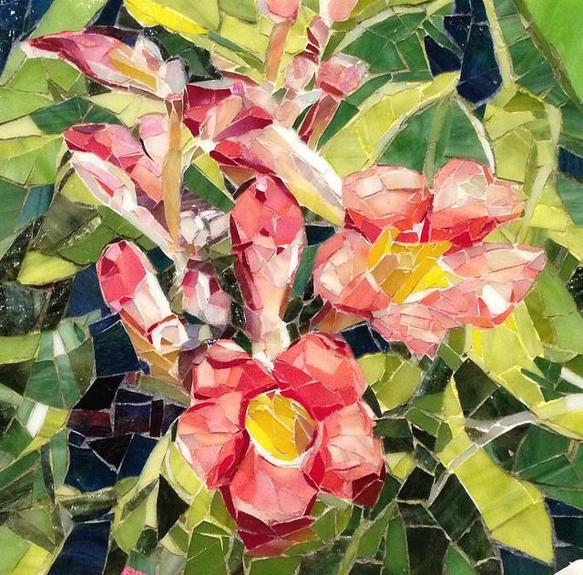 """PINK FLOWERS"" by Larissa Strauss. Glass mosaic, 8"" x 8,"" 2012."