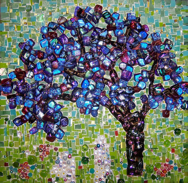 """PURPLE JEWEL TREE"" by Larissa Strauss. Fused and stained glass mosaic, 12"" x 12,"" 2007, Sold."