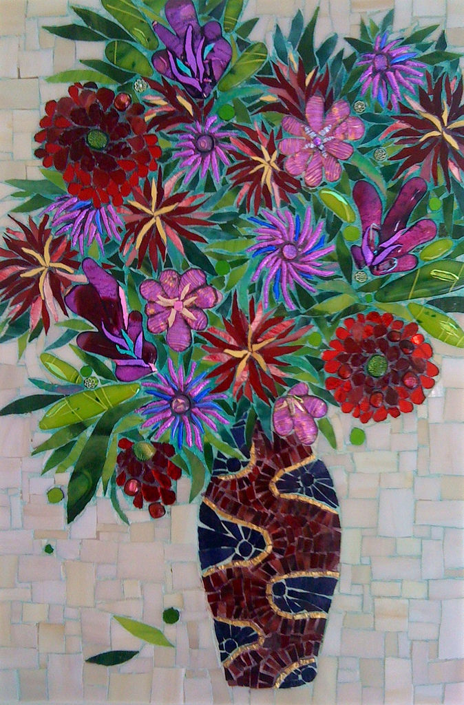 """RED + PURPLE FLOWERS"" by Hayley Strauss, Fused and stained glass mosaic, 22"" x 15,"" 2007, Sold."