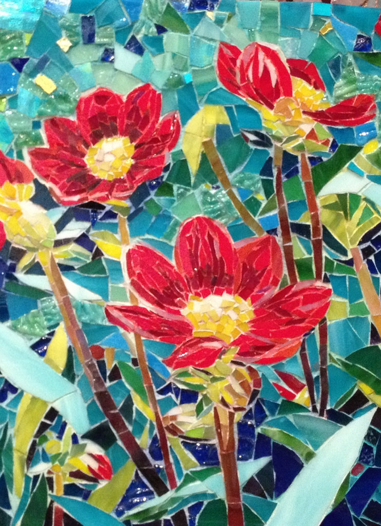 "'RED FLOWERS"" by Larissa Strauss. Glass mosaic, 11' x 8,"" 2013, Sold."