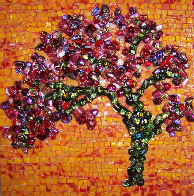 "'RED JEWEL TREE"" by Larissa Strauss. Fused and stained glass mosaic, 12"" x 12,"" 2007, Sold."