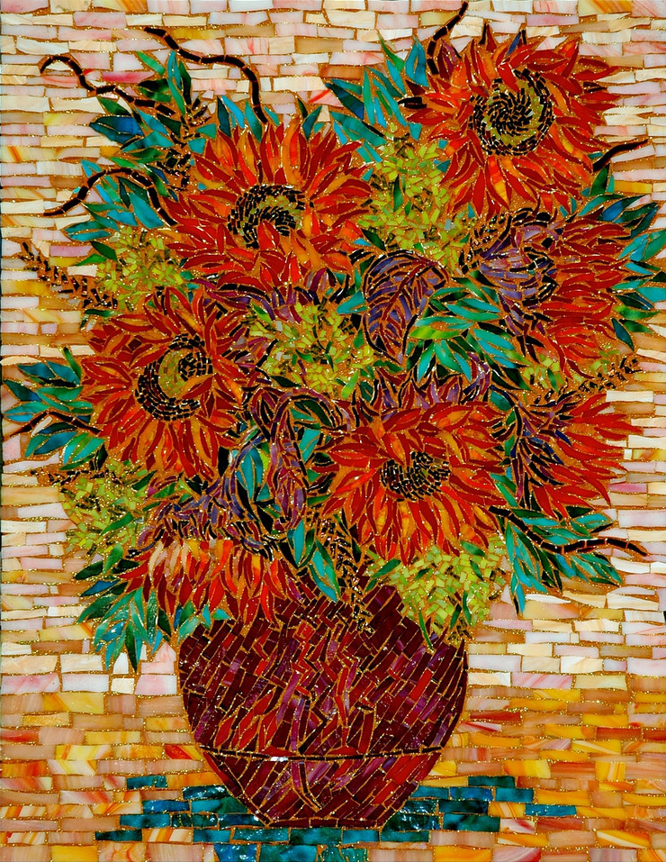"""RED SUN FLOWERS"" by Larissa Strauss. Glass mosaic, 28"" x 20,"" 2006."