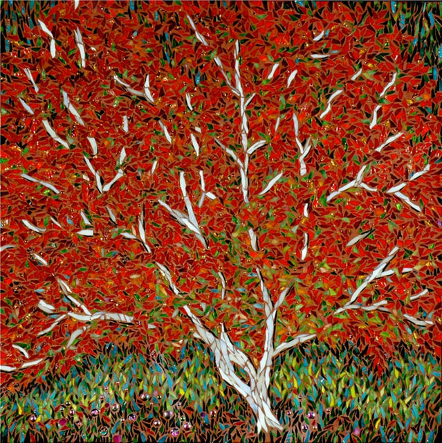 """RED TREE"" by Larissa Strauss. Fused and stained glass mosaic, 12″ x 12,"" 2007, Sold."