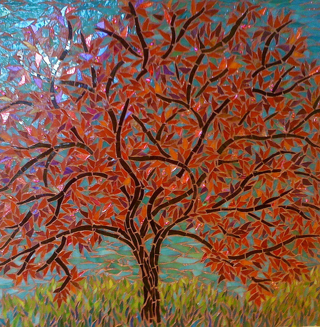 """RED TREE 2"" by Larissa Strauss, Glass mosaic, 16' x 16,"" 2007, Sold."