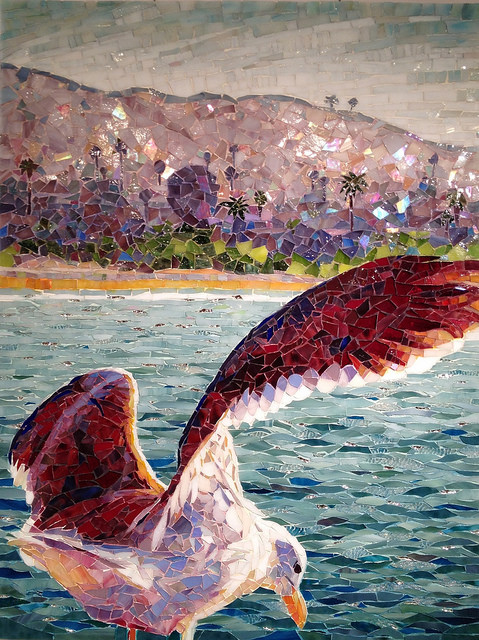 """SPIRIT'S FLIGHT"" by Larissa Strauss, Glass mosaic, 25″ x 17,"" 2012, Sold."