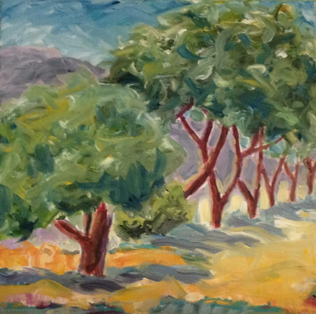 """STAND OF TREES"" by Larissa Strauss. Oil on canvas, 18"" x 18,"" 2013, Sold."