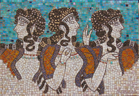"""THREE WOMEN OF KNOSSOS"" by Larissa Strauss. Glass mosaic, 24″ x 36,"" 2005, Commission."