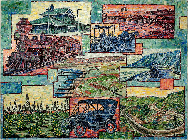 """""""TRANSPORTATION IN VENTURA COUNTY BETWEEN THE 19TH AND 20TH CENTURIES"""" by Larissa Strauss. Glass mosaic, 36"""" x 48"""". 2009. Commissioned by the Museum of Ventura County."""
