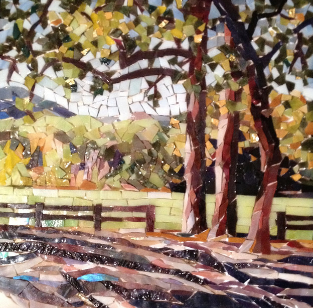 """""""TREES AT FOSTER PARK"""" by Larissa Strauss. Glass mosaic, 11"""" x 11,"""" 2012."""