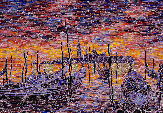 """VENETIAN SUNSET"" by Larissa Strauss. Glass mosaic, 24″ x 36,"" 2005, Sold."