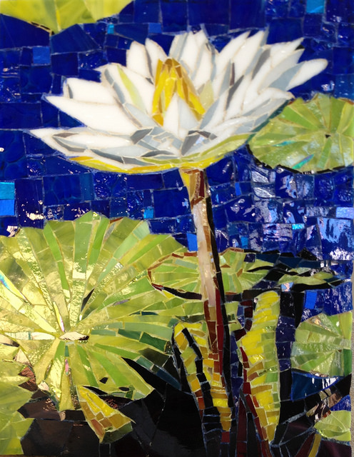 """WATER LILLY"" by Larissa Strauss. Glass mosaic, 11"" x 8,"" 2012, Available."
