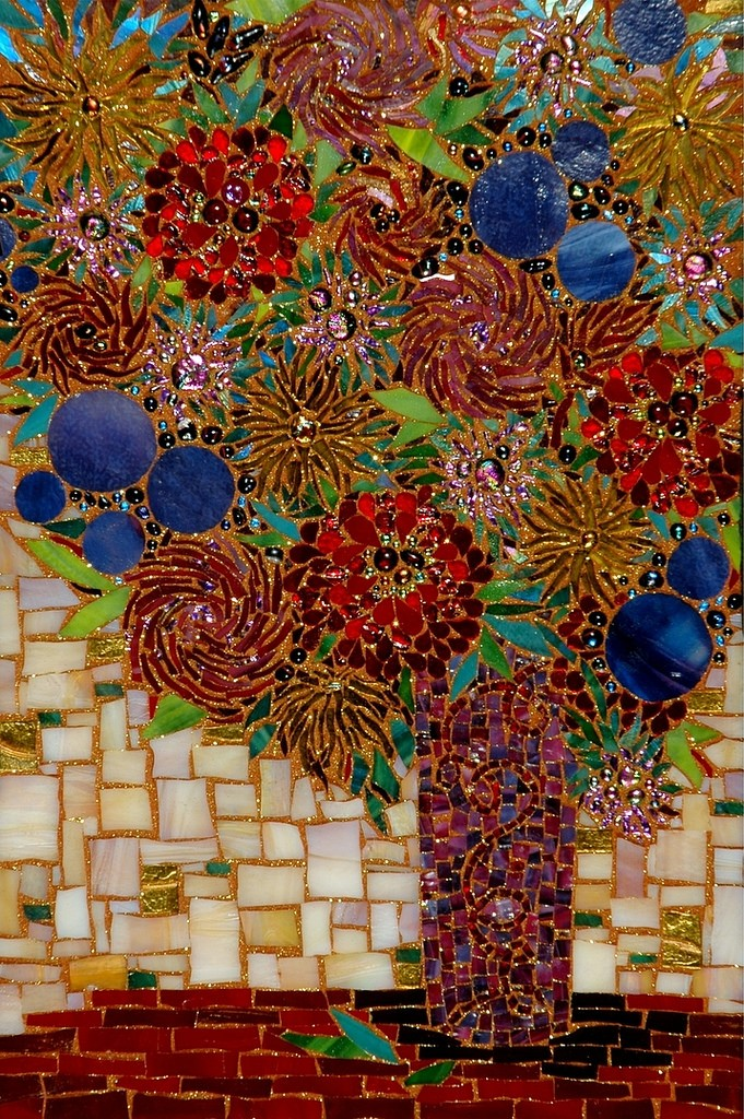 """WHIMSICAL FLOWERS"" by Larissa Strauss. Fused and stained glass mosaic, 19″ x 14,"" 2006, Sold."