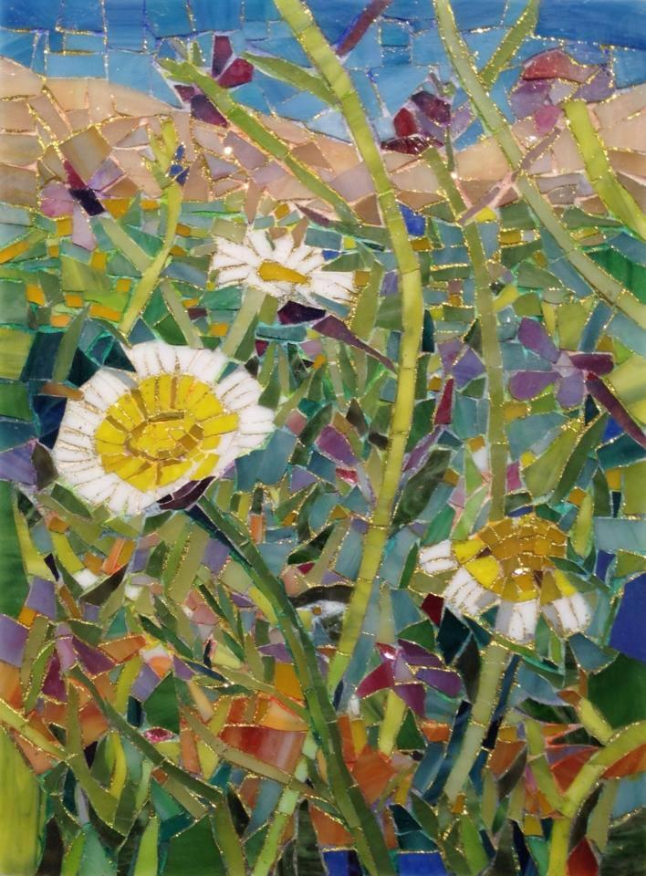 """WILDFLOWERS"" by Larissa Strauss, Glass mosaic, 11"" x 8,"" 2012, Sold."