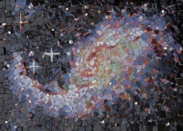 """BARRED SPIRAL GALAXY"" by Larissa Strauss. Glass mosaic, 8"" x 11,"" 2009, Sold."